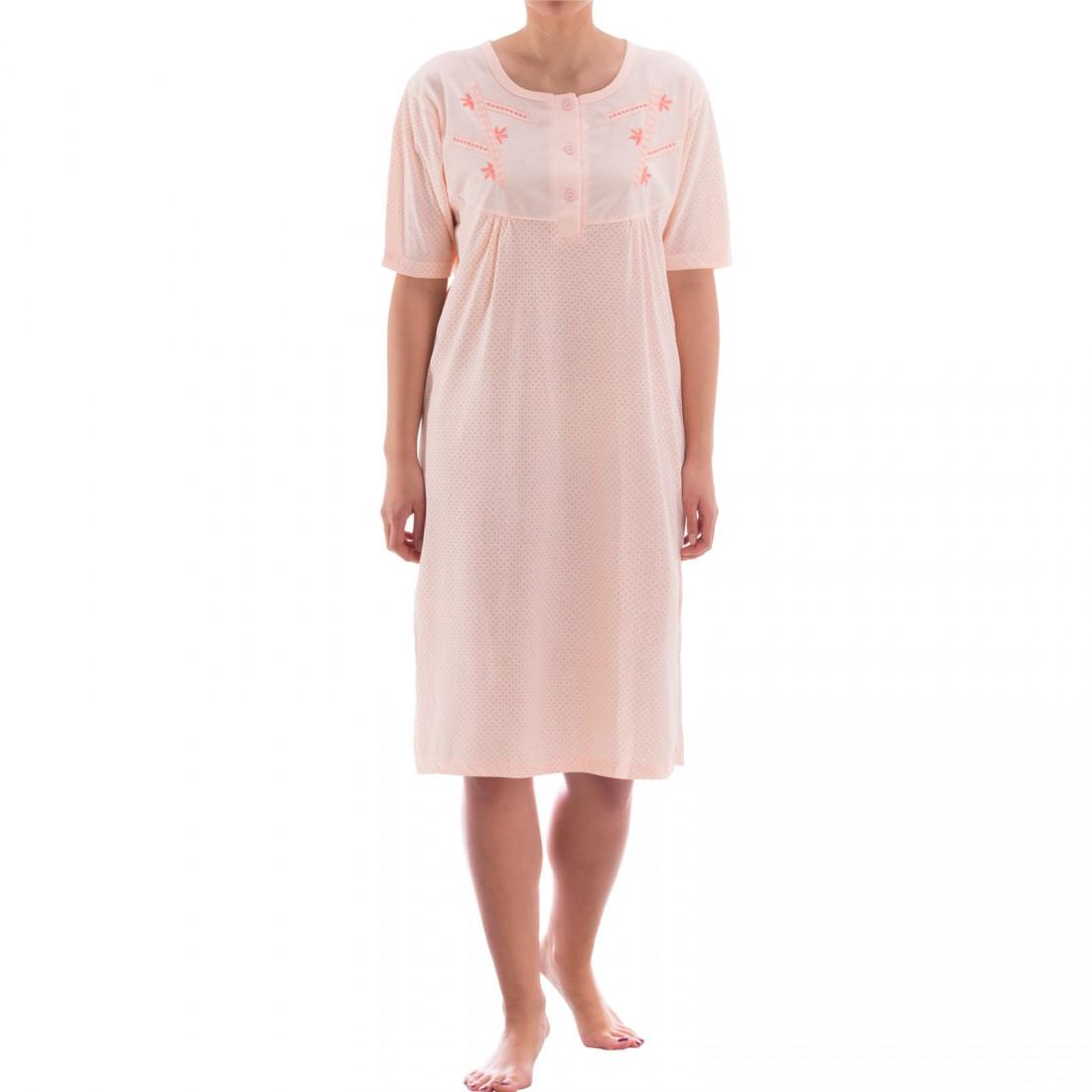 zeitlos nachthemd kurzarm im punkte design damen nachtw sche nachthemden kurzarm. Black Bedroom Furniture Sets. Home Design Ideas