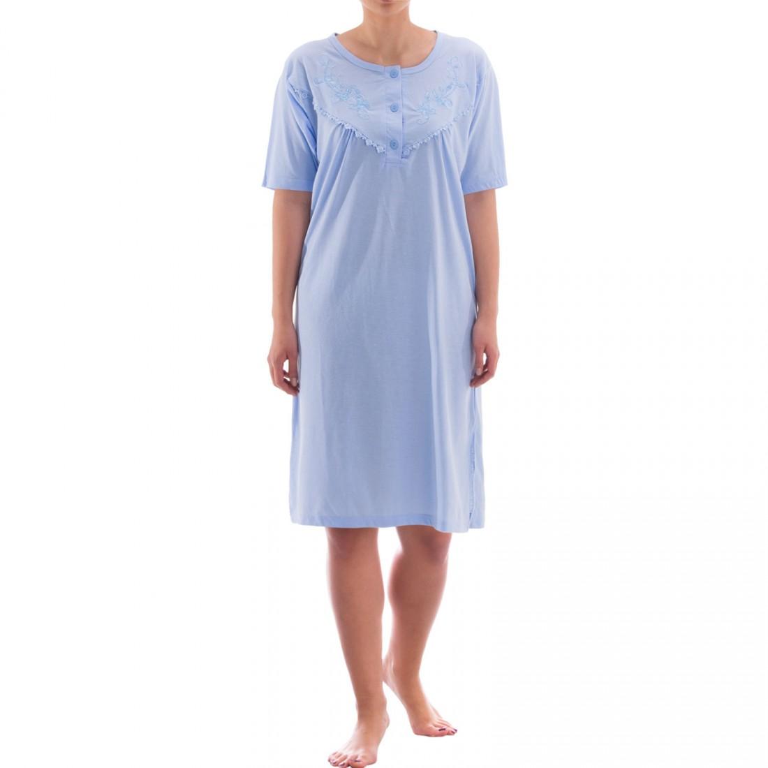 zeitlos nachthemd kurzarm einfarbig mit spitze damen nachtw sche nachthemden kurzarm. Black Bedroom Furniture Sets. Home Design Ideas