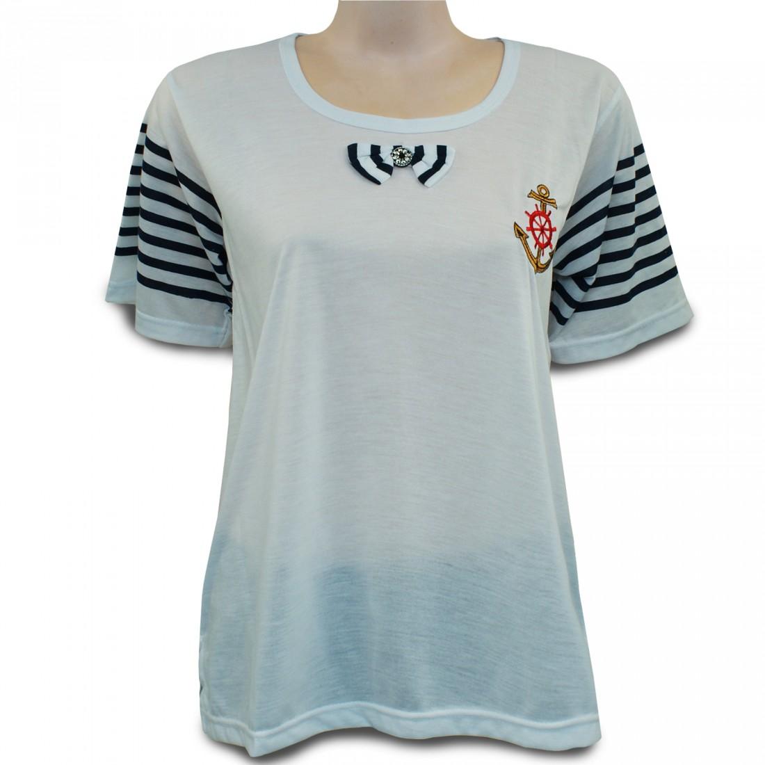 romesa maritimes t shirt rundhals mit anker stickerei und. Black Bedroom Furniture Sets. Home Design Ideas