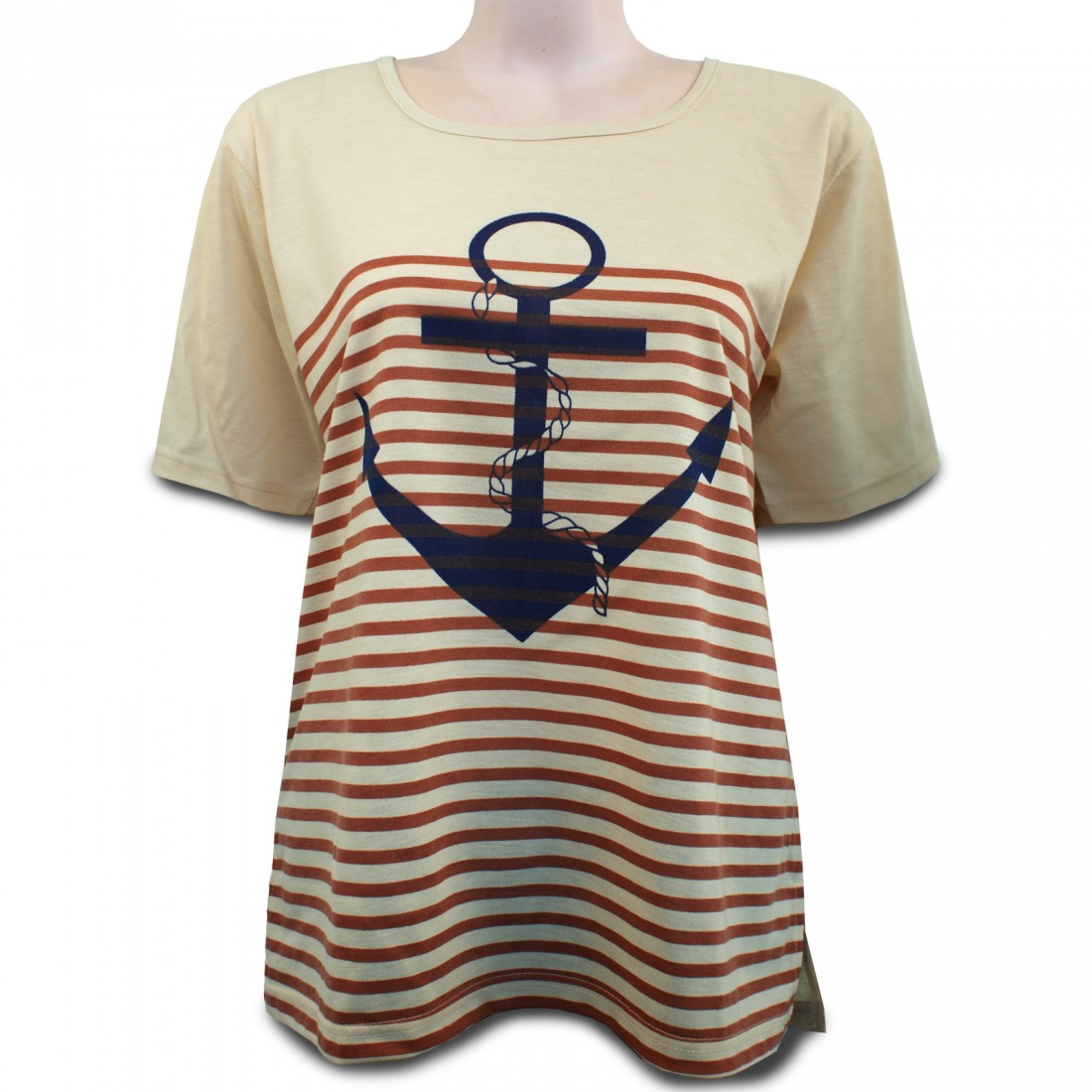 romesa rundhals t shirt streifen shirt mit anker. Black Bedroom Furniture Sets. Home Design Ideas