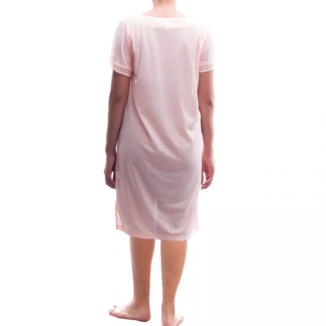 lucky kurzarm nachthemd schlafshirt mit spitze damen nachtw sche nachthemden. Black Bedroom Furniture Sets. Home Design Ideas